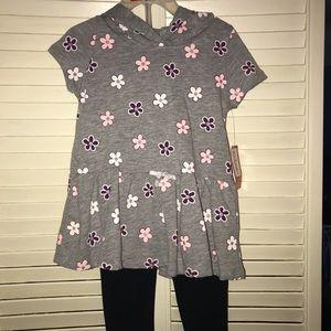 NWT- Kidgets- Flower print Hooded legging set 3T
